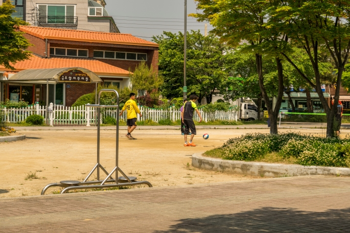 Men playing sports in the park
